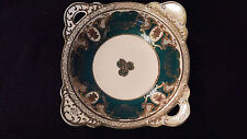Chugai Hand Painted Ornate China Plate Bowl green gold handled square Vintage