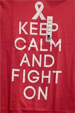 """NWT New """"Keep Calm and Fight On"""" Breast Cancer Awareness Pink T-Shirt S"""