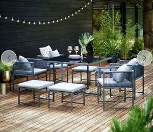 8 Seater Rattan Garden Furniture Set Chairs Table Outdoor Patio Wicker Seats