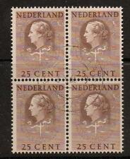 NETHERLANDS SGJ31 1951 25c BROWN  BLOCK OF 4 FINE USED