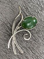 Vintage Silver Time Jade Stone  Abstract Flower Leaf  Brooch Pin 2 1/4