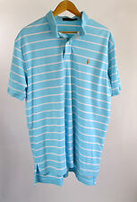 Ralph Lauen Polo Light Blue White Striped Orange Pony Soft Golf Shirt Size XL