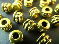 20pc 6mm Gold Premium Tibetan Silver Bali Dotted Design Round Spacer Beads T068