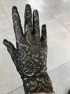 GUCCI Black Floral Embroidered Tulle Glamorous Gloves Gold Thread Size 7,5+/M
