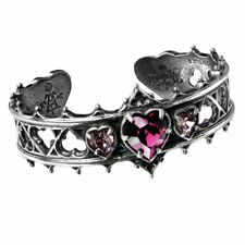 Stunning Alchemy Gothic ~ Elizabethan ~ Crystal Heart ~ Pewter Bracelet Bangle