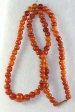 VTG ANTIQUE 100+ YEARS OLD HAND CARVED DARK EGG YOLK AMBER BEADS NECKLACE 12.5 G