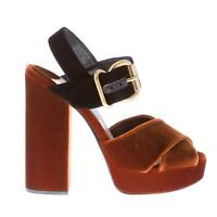 PRADA women shoes brown velvet cross sandal black ankle strap gold-tone buckle