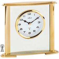 NEU Atlanta Tischuhr FUNKUHR Glas gold Schreibtisch Büro Wohnzimmer Uhr modern