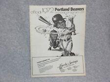 1972 PORTLAND BEAVERS vs INDIANS Baseball PROGRAM Excellent  w/Roster Sheet  C#8
