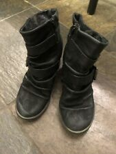 Blowfish Black Leather Wedge Booties Size 10