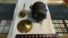 Fire Starter Cast Iron Pot w/Solid Brass Lid, Handle & Lifting Handle Old