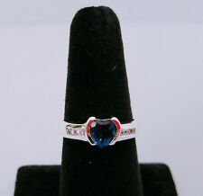 925 Sterling Silver Blue Sapphire Heart Design Wedding Engagement Ring 1224Sz 10