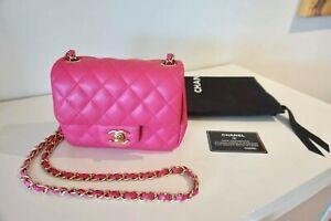 100% Auth. Chanel Fuchsia Lambskin Mini Square Bag Flap Light Gold HW