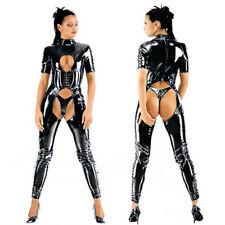 Fetish PVC Catsuit Faux Leather Open Bust Crotchless Bodysuit Jumpsuit Clubwear