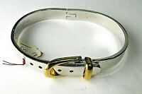Vintage Taxco Mexico Solid Sterling Silver Hinged Bangle Buckle Bracelet