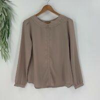 Ann Taylor Loft Womens Pullover Blouse Size S Taupe Tan Chiffon Shirt Top Woven