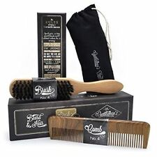 Beard & Hair Grooming Gift Set For Studly Men Sandalwood Comb Boar Bristle Brush