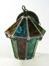 """Vintage Mid Century Lantern Pendant Light Hanging Multi-Color Stained Glass 10"""""""
