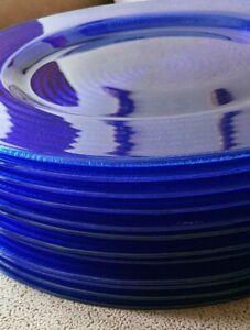 Platzteller Glasteller groß Rillenmotiv dunkelblau Ø 30,5 cm ⭐NEU⭐