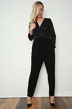 New Womens Black Embellished Sequin Front Wrap Pockets Belted Jumpsuit Size 12