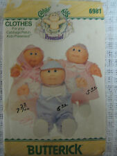 Vintage Butterick 6981 CABBAGE PATCH KIDS PREEMIES DOLL CLOTHES Sewing Pattern