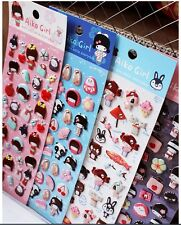 KAWAII Beautiful 4-sheet set Stickers JapaneseCartoon Kimono Girl, cute stickers