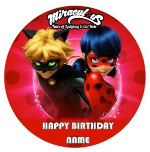 MIRACULOUS LADY BUG & CAT NOIR Image Birthday Party Cake Topper 19cm Round