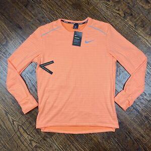 Nike Therma Long Sleeve Running Top Shirt Orange Mens Size Large BV4707-892 NEW