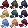 Men's Paisley Tie Set Silk Red Blue Black Gold Handkerchief cufflink Wedding USA