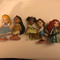"Disney Princess Animators Doll Figure lot Belle Pocahontas Brave Tiana 3"""
