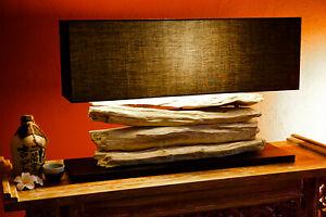 Treibholz Lampe Stehlampe 80cm Holz Tischlampe mit Schirm Wurzel Holzlampe natur