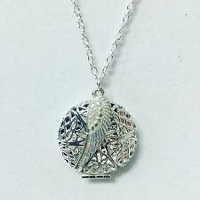 """ESSENTIAL OIL DIFFUSER NECKLACE  SILVER ANGEL WING AROMATHERAPY OILS 30"""""""