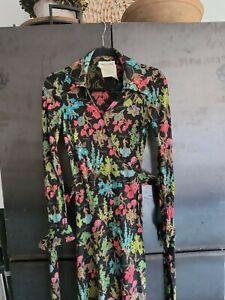 Vintage Diane Von Furstenberg Iconic Wrap Dress Floral 6 Italy Long Sleeve