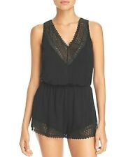 Cosabella LUNNA Black Lace Trim Stretch Micromodal Rayon Sleep Teddy Romper - S