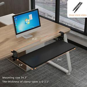 """30"""" Under Desk Clamp-On Keyboard Tray Sliding Adjustable Drawer Shelf Slides"""