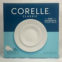 NEW WHITE 16 PIECE CORELLE WINTER FROST DINNER BREAD PLATE CEREAL BOWL MUG