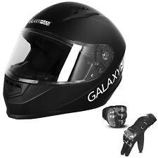 Galaxyman Dot Approved Full Face Flip Up Motorcycle Visor Helmet Street Gloves