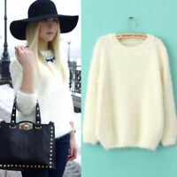 Women Knitted Sweater Soft Round Neck Cashmere Fluffy Jumper Casual PulloverBDA