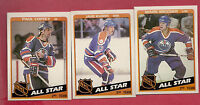 1984-85 TOPPS OILERS COFFEY + KURRI + MESSIER ALL STAR CARD