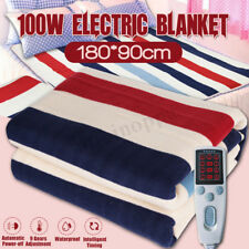Queen Size Electric Heated Flannel Blanket Cover Heater W/ Timing Controller New