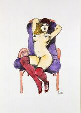 Leone Frollo 2009 Di-litho+watercolor on paper 'frivola nuda' unauthor copy -COA