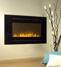 "40"" Black Electric Fireplace Forte 28""H Tallest Flame Recessed Inset or Mounted"