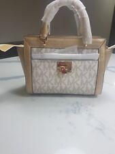 92a7ac6e30aef Michael Kors New Pale Gold Vanilla Tina Signature Messenger Satchel Bag
