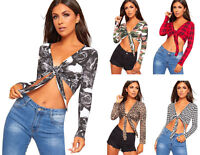 Womens Printed Tie Up Knot Front Ladies Cropped Belly Bolero Shrug Crop Top 8-22