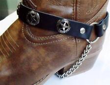 Cuero Negro Texas Star Bota Cadenas Correas Biker Western Cowboy Hebilla