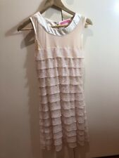 Elle Would Gold Sleeveless Tiered Dress Size 8