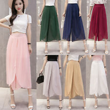 2018 Summer Chiffon High Waist Casual Wide Leg Trousers Dress Pants Beach Skirts