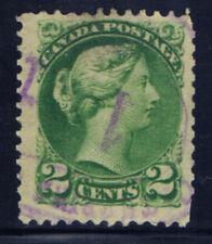 Canada #36(45) 1872 2 cent green small Queen Victoria PURPLE Cancel