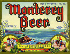 SALINAS BREWING MONTEREY BEER LABEL T SHIRT SALINAS CA SIZES SMALL-XXXLARGE (F)