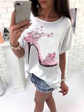 UK Womens Short Sleeve Tops Summer Beach Ladies Casual Loose Blouse Top T Shirt
